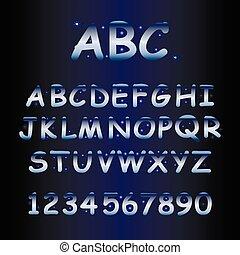 alphabet with shine stars