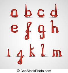 Alphabet with small red folded paper letters