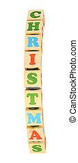 alphabet wood blocks forming the word christmas