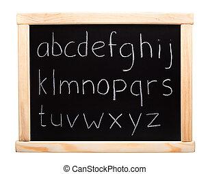 Alphabet written on blackboard