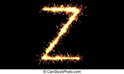 Alphabet Z Text Sparkler Writing With Glitter Sparks Particles Firework on Black 4K Loop Background. letter , alphabet , typography , Typeface , Font , character .