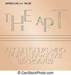 alphabet, ziffer, vektor, linie, abstrakt