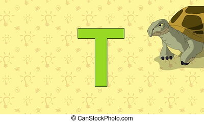 alphabet, -, zoo, t, lettre, anglaise, turtle.