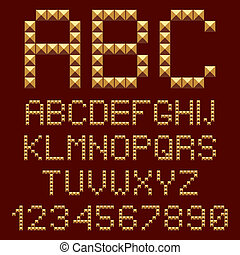 alphabete, 3d, gold, letters.