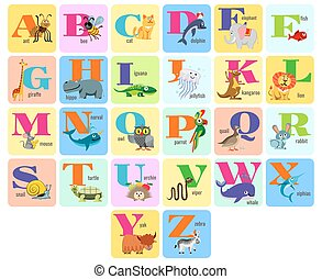 alphabeth, フルである, 動物, 子供, イラスト, ベクトル, 漫画