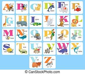 alphabeth, cheio, animais, crianças, ilustração, vetorial, caricatura