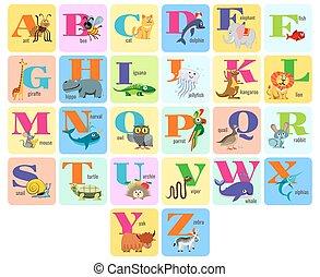 alphabeth, fulde, dyr, børn, illustration, vektor, cartoon