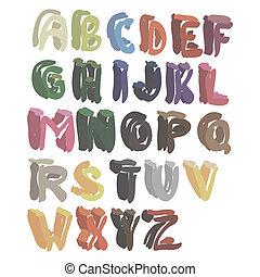 alphabeth, lettered, hand