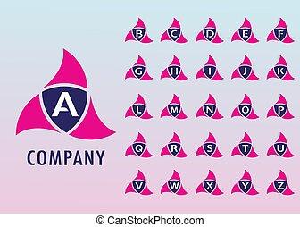 Alphabetic Logo Design Template, Ninja Security Logo Concept, Company, Pinky, Blue, White, Initial Logo, Digital, Modern, Flat