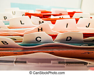 alphabetical index cards. Customer data in ABC