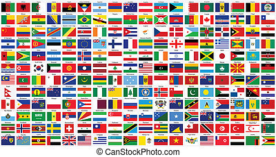 alphabetical world flags complete collection, isolated on gray background, abstract vector art illustration