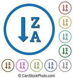 alphabetically, descendendo, mandado, lista, ícones, com, sombras, e, esboços