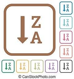 alphabetically, descendendo, mandado, lista, ícones simples