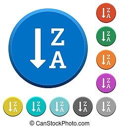 alphabetically, descendendo, mandado, lista, chanfrado, botões