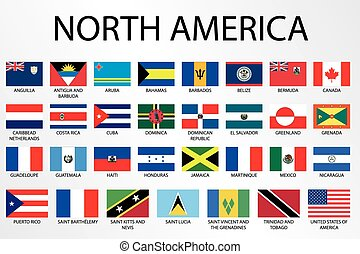 alphabetisch, nord, land, flaggen, amerika, kontinent