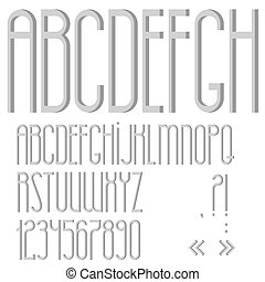 Alphabet,numbers and punctuation marks. Vector set