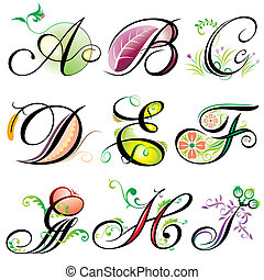 Vector of Alphabets elements design - series A to I.