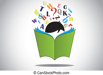 alphabets, felolvasás, nyitott könyv, kölyök