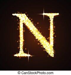 Alphabets N of gold glittering star