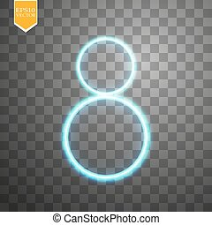 Alphabets Number 8 eight of blue neon on transparent background. Illustration vector