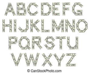 Alphabte of letters made of dollars - Alphabet of letters...