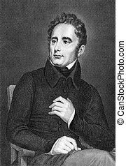 Alphonse de Lamartine (1790-1869) on engraving from 1859. ...