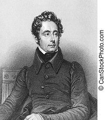 Alphonse de Lamartine (1790-1869) on engraving from the ...