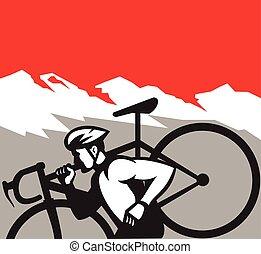 alpi, correndo, atleta, cyclocross, bicicletta, retro, portante