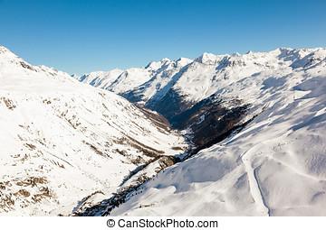 alpi, inverno,  otztal, valle,  gurgler, vista