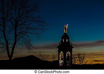 alpi, montagna, chiesa, tramonto, villaggio, italiano
