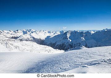 alpi, Ricorso, sci, inverno, paesaggio