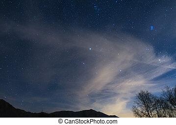 alpi, stellato, cielo notte, sotto, natale