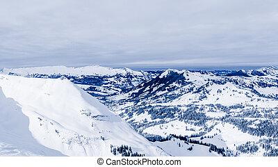 alpien, alpen, berg, landschap., panorama, van, sneeuw, berg