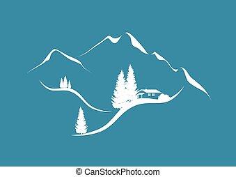 alpien, berglandschap, met, hut, en, firs