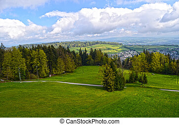 alpien, landscape, in, austria:, bergen, bossen, weiden, en, een, boerderij