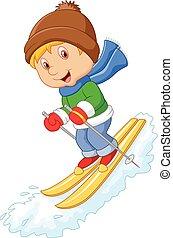 alpien, wedloop, spotprent, extreem, skier