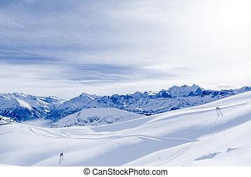 alpin, alps, berg, landschaft., panorama, von, schnee, berg