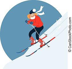 alpin, frau, ski fahrend