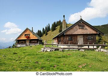 alpin, hütten