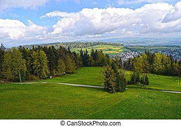alpin, landskap, in, austria:, mountains, skogar, ängar, och, a, lantgård