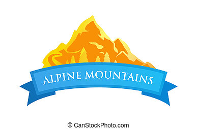 alpin, montagnes, emblème