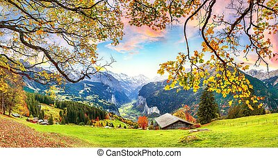 alpin, vallée, vue, automne, pittoresque, village, wengen, fabuleux, lauterbrunnen