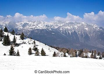 alpin, vinter landskap