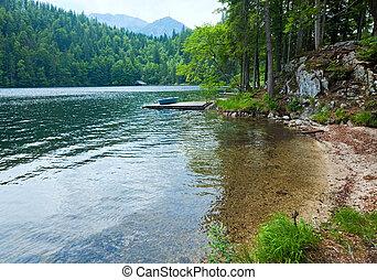 alpin, vue, été, lac