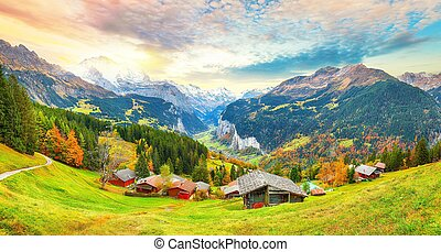 alpin, vue, wengen, scénique, vallée, lauterbrunnen, pittoresque, village, automne