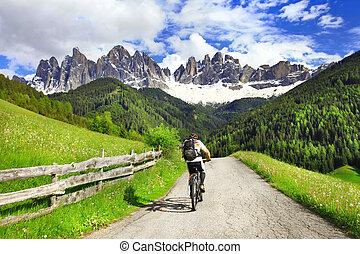 Alpine activities - beautiful nature of Dolomites, north of...