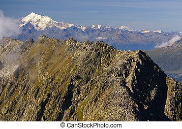 Alpine Alps mountain landscape at Jungfraujoch, Top of Europe Switzerland