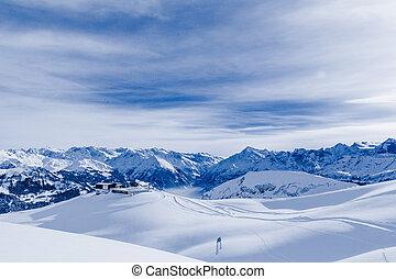 Alpine Alps mountain landscape. Panorama of Snow Mountain