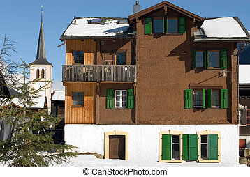 An alpine chalet in a small Swiss village
