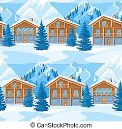 Alpine chalet houses seamless pattern. Winter resort landscape with snowy mountains and fir forest